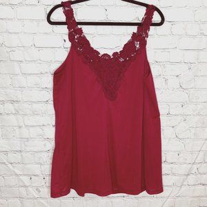 Love & Legend red embroidered strap tank